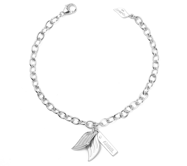 .925 Silver Guardian Angel Charm Diamond Bracelet (Includes 1 Diamond) - Silver