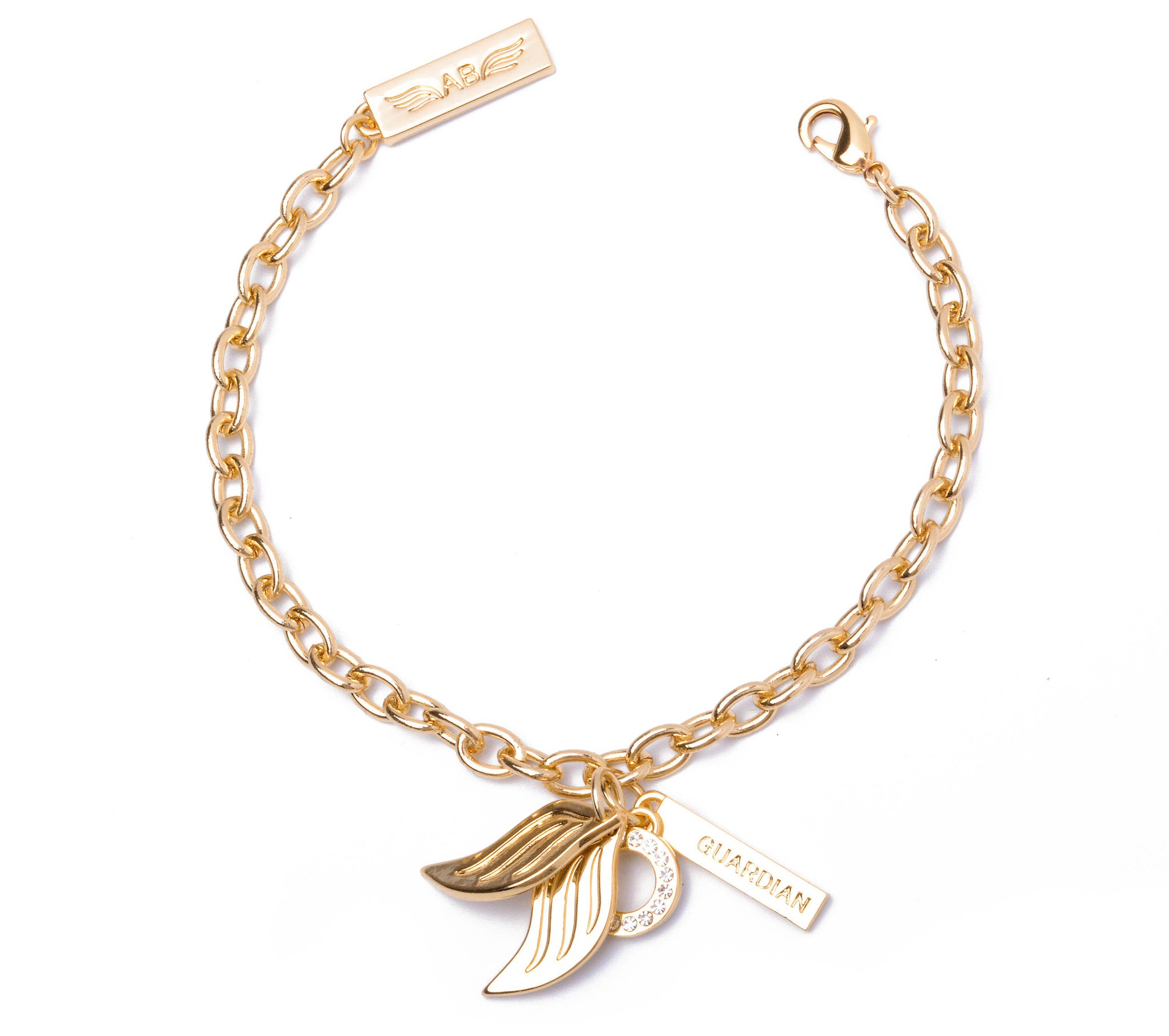 Guardian Angel Charm Bracelet Gold Ashley Brid