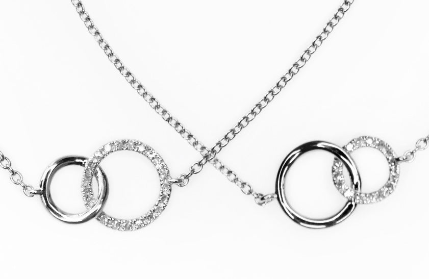 Mother Daughter Small and Large Interlocking Circles Diamond Bracelet Set - (Includes 41 diamonds)