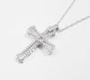 10k White Gold Diamond Petite Cross Necklace (Includes 67 Diamonds)