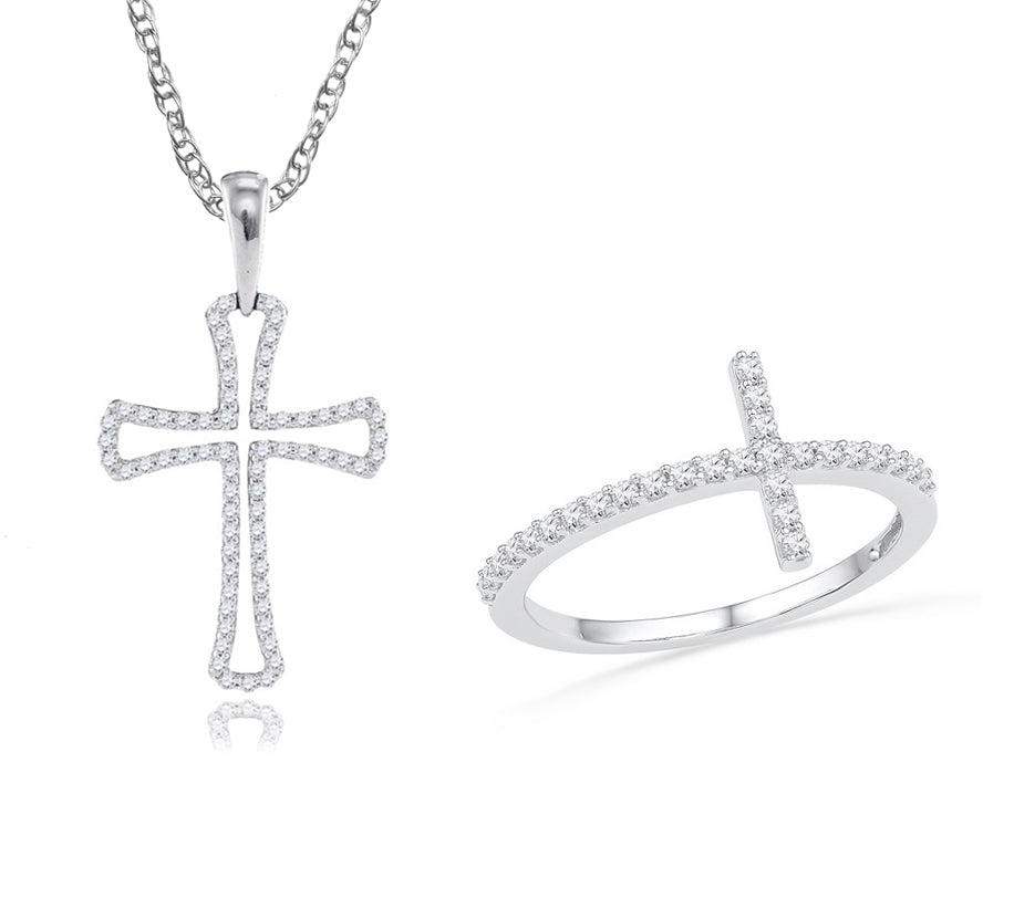 10k White Gold Diamond Cross Ring & 10K White Gold Diamond Petite Cross Necklace Bundle