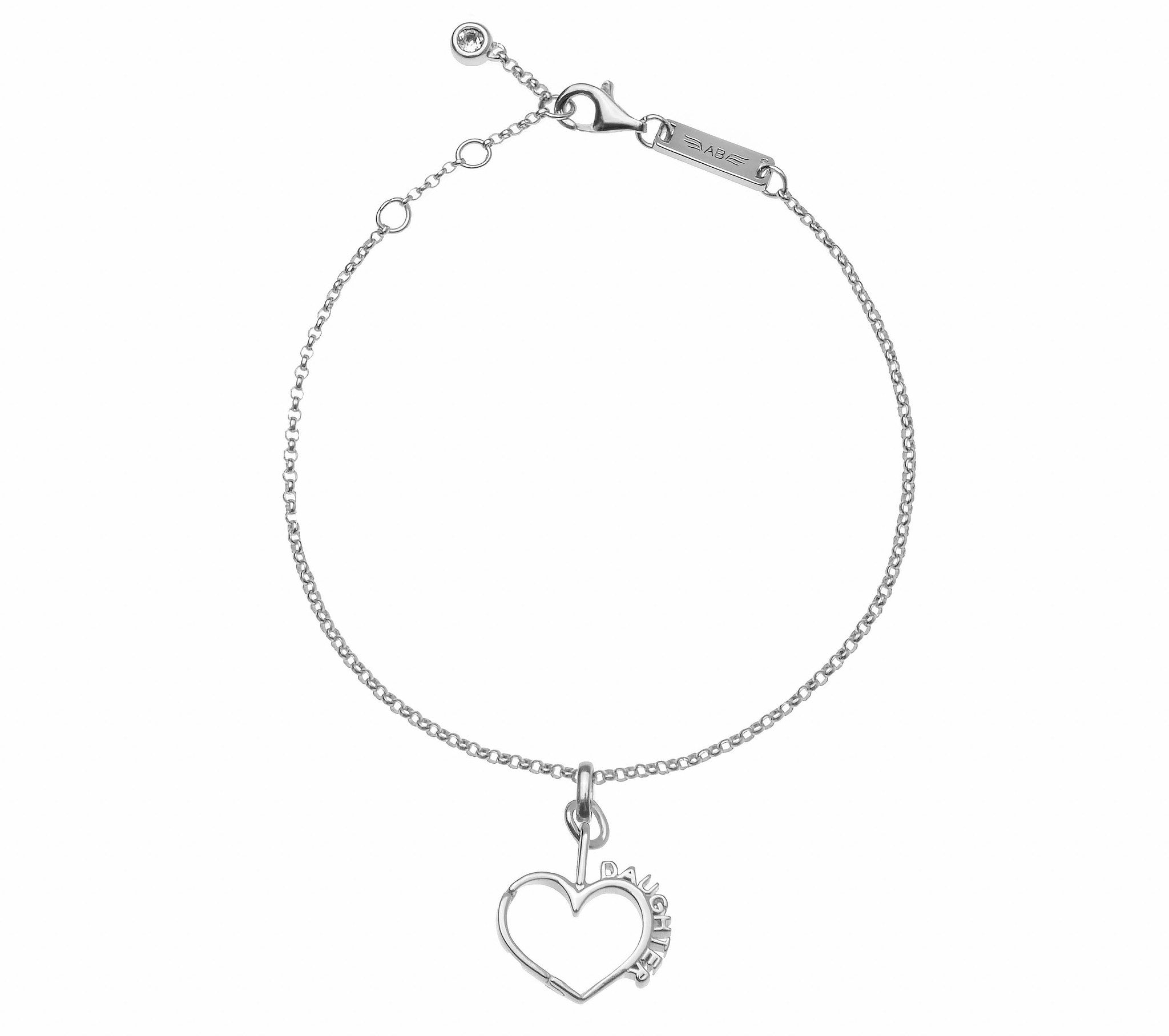 Mother Daughter Connecting Hearts Bracelet 925 Sterling Silver W
