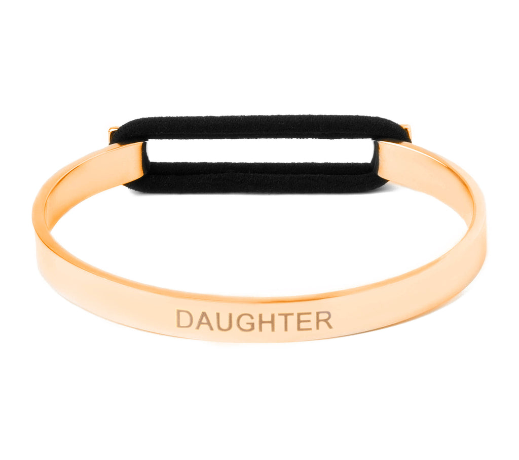 Daughter Skinny Elastic Bangle 14K Gold or .925 Silver Plated