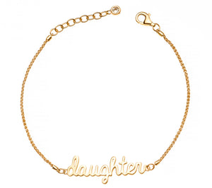 Daughter Signature - 14K Gold Plated w/ Swarovski Crystal