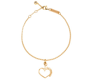 Mother Daughter Connecting Hearts Bracelet - 14K Plated Gold w/ Swarovski Crystal