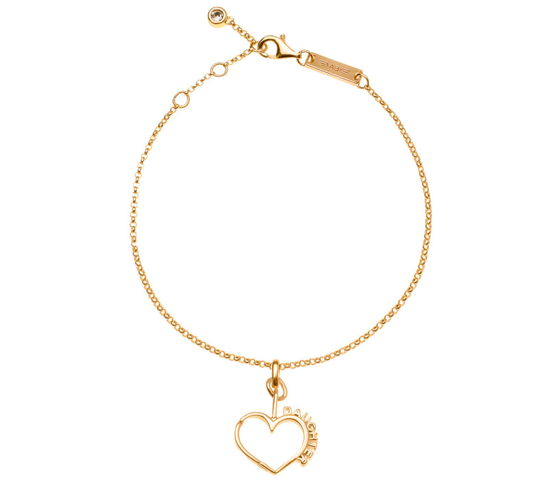 Daughter Hearts Bracelet - 14K Plated Gold w/ Swarovski Crystal