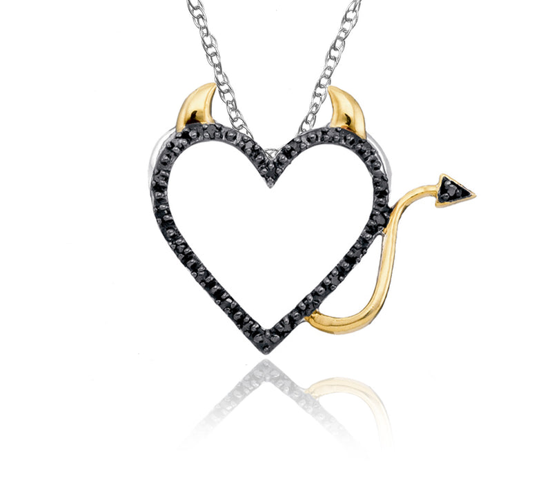 10K White & Yellow Gold Diamond Devil Heart Necklace (Includes 21 Diamonds)