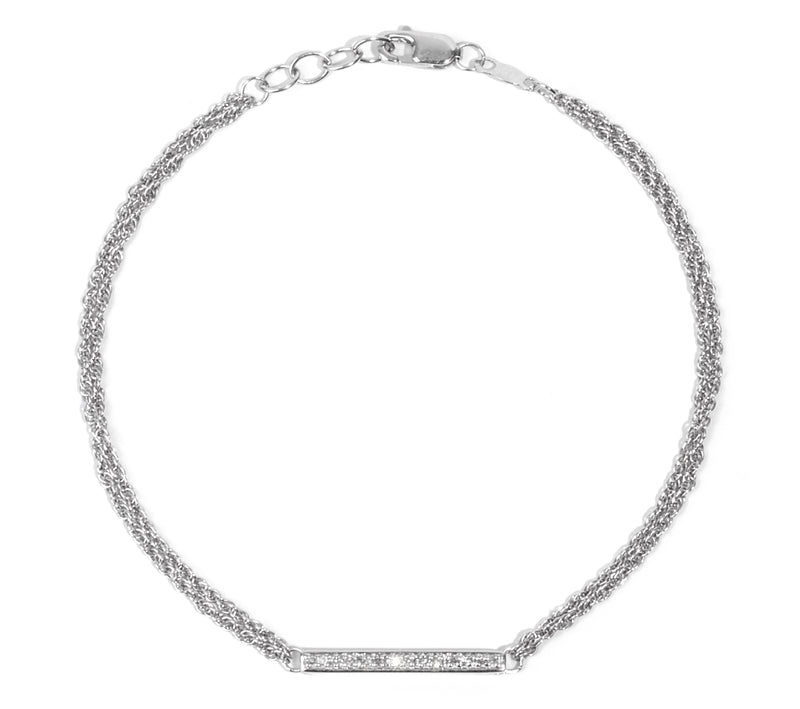 925 Silver Diamond Bar Bracelet (Includes 22 Diamonds)