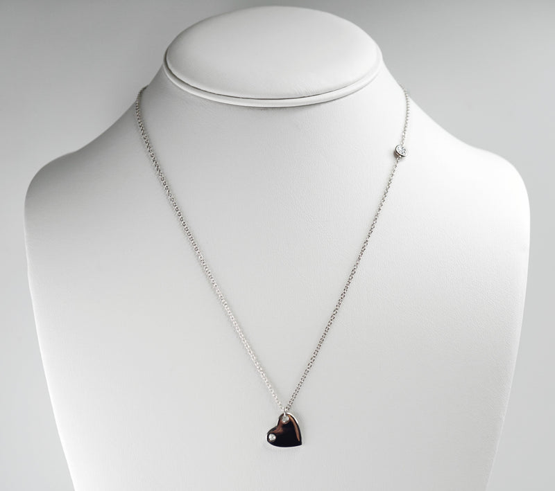 Mini Diamond Heart Charm Necklace (Includes 3 diamonds)