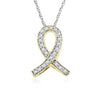 10K Gold Awareness Ribbon Necklace (Includes 22 Diamonds)