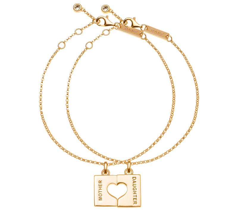 Mother Daughter Half Heart - 14K Gold Plated w/ Swarovski Crystal