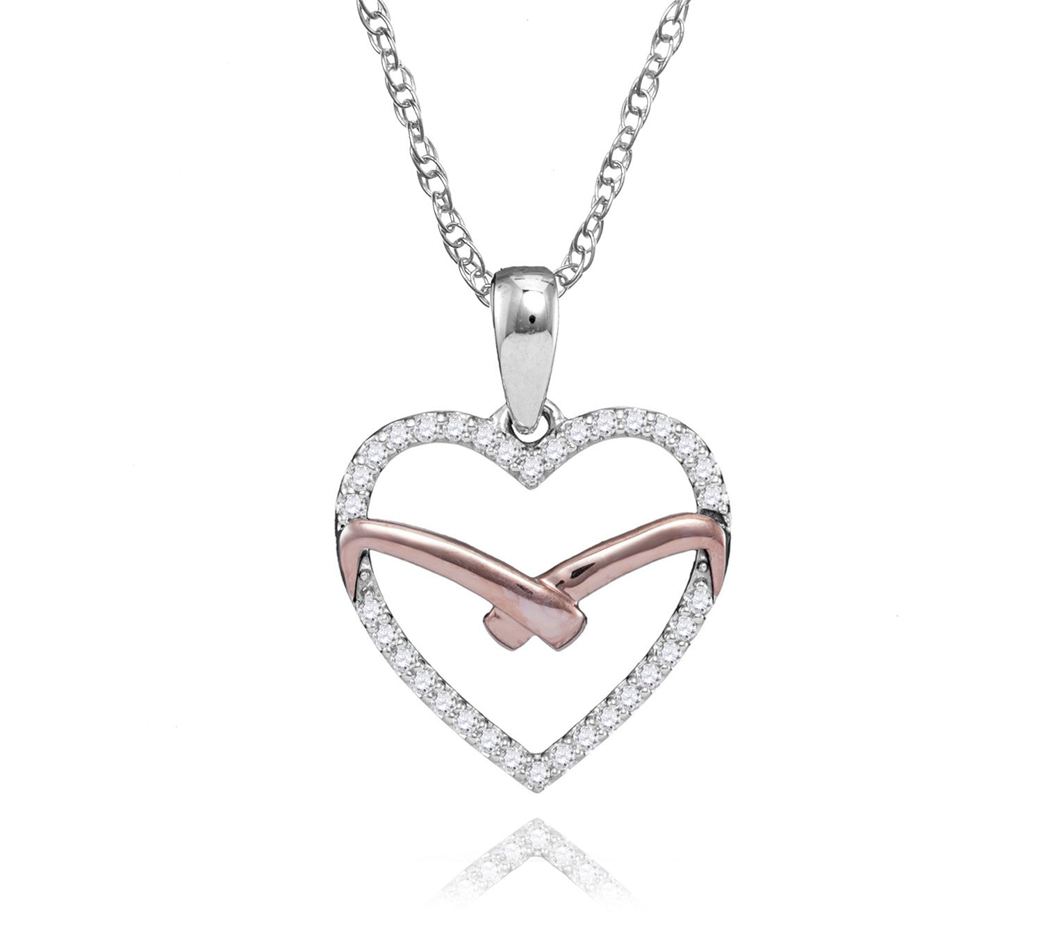10kt white rose tone gold womens round diamond heart outline pendant 10k white rose gold diamond heart necklace includes 34 diamonds aloadofball Image collections