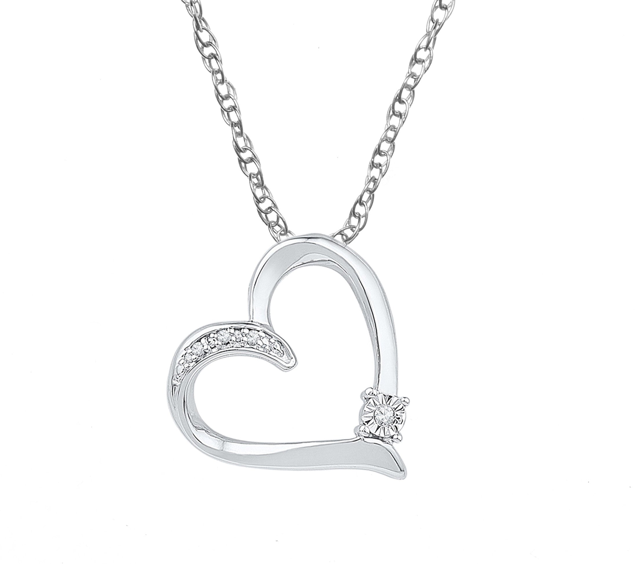 Sterling silver womens round diamond solitaire heart love pendant 925 silver diamond heart necklace includes 4 diamonds aloadofball Image collections