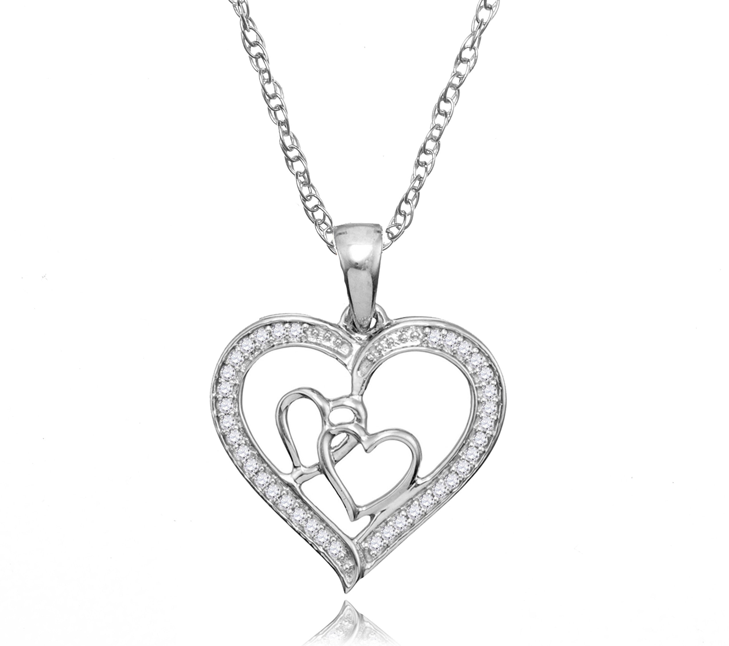 Sterling silver womens round diamond triple heart outline pendant 925 silver diamond heart pendant necklace mozeypictures Choice Image