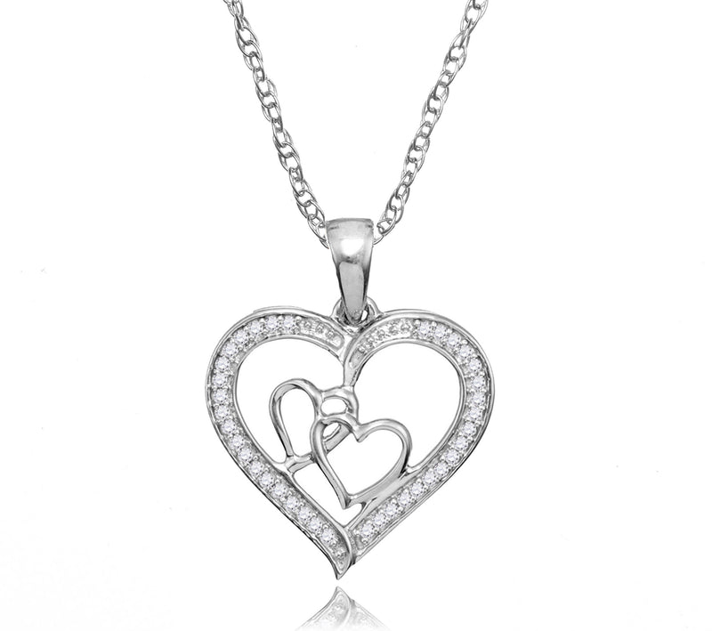 .925 Silver Diamond Heart Pendant Necklace