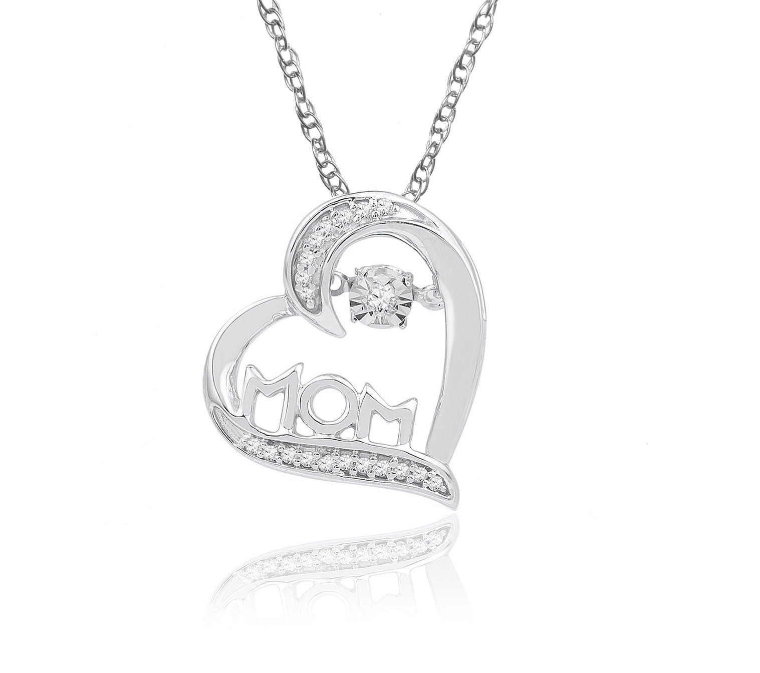 10kt white gold womens round diamond mom mother heart love pendant 1 10k white gold diamond heart mom necklace includes 20 diamonds aloadofball Image collections