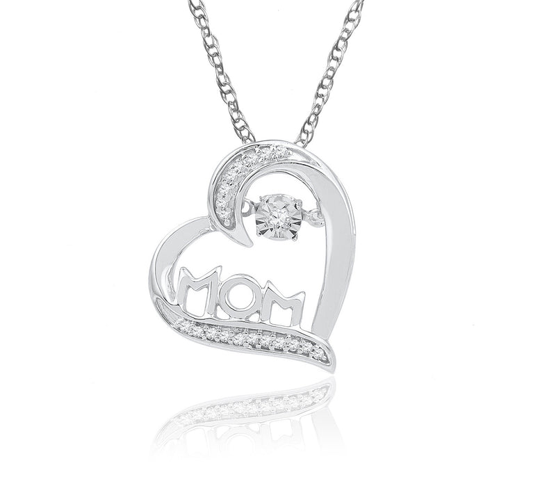 10K White Gold Diamond Heart Mom Necklace (Includes 20 Diamonds)