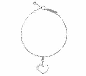 Mother Daughter Connecting Hearts Bracelet - .925 Sterling Silver w/ Swarovski Crystal