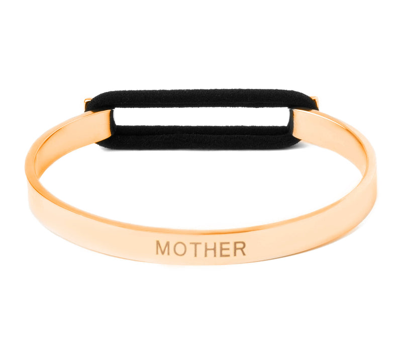 Mother's Love Skinny Elastic Bangle 14K Gold or .925 Silver Plated
