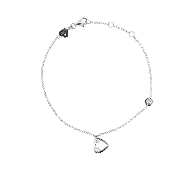 Mini Diamond Heart Charm Bracelet (Includes 3 diamonds)