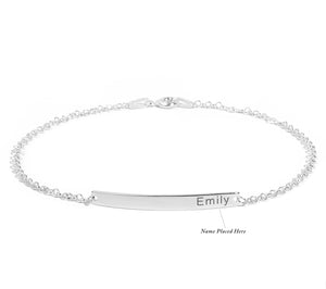.925 Sterling Silver Custom Nameplate Bar Bracelet