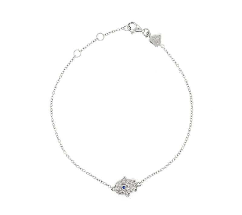 Diamond Hamsa Charm Bracelet (Includes 25 diamonds)