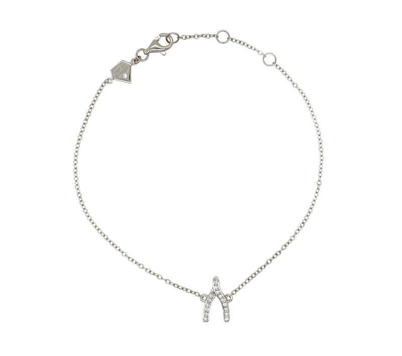 Diamond Wishbone Charm Bracelet (Includes 16 diamonds)