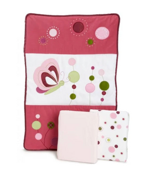 Lambs & Ivy Raspberry Swirl 3-Piece Mini Crib Set