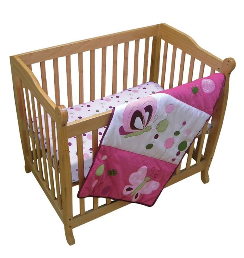 Lambs & Ivy Raspberry Swirl 3-Piece Mini Crib Set- Limited to 1 per customer