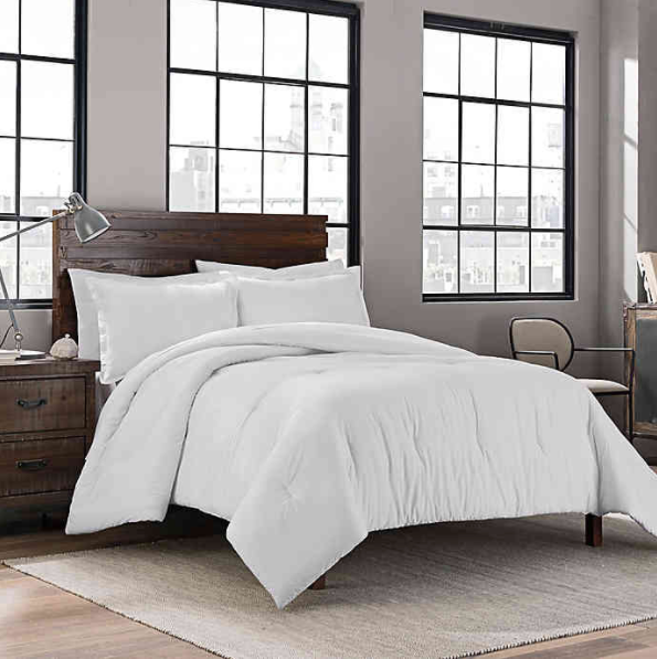Garment Washed Solid King Comforter Set in White