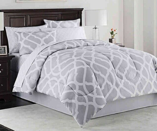 Kiley 8 Piece Luxury King Bedroom Comforter Set in Grey