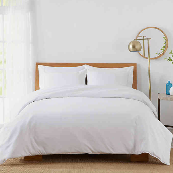 450-Thread-Count Cotton Sateen Twin Duvet Cover Set in White