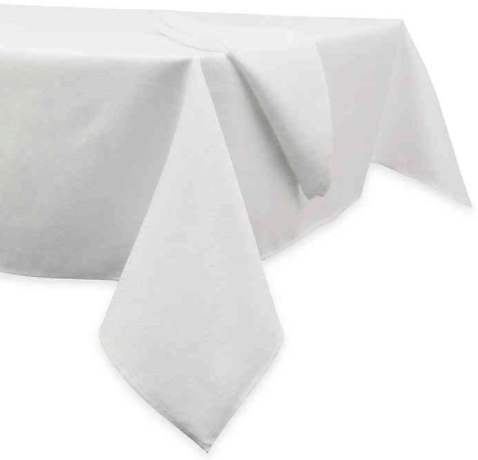 Basketweave 90-Inch Round Tablecloth in White
