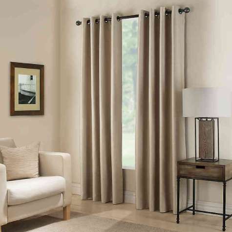 Paradise 95-Inch Room Darkening Grommet Top Window Curtain Panel in Flax- Limited to 1 per customer