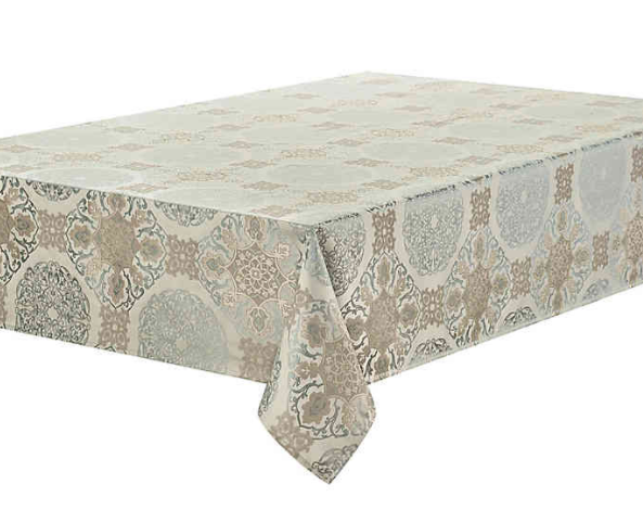 Waterford® Linens Jonet 70-Inch x 84-Inch Oblong Tablecloth in Aqua- Limited to 1 per customer