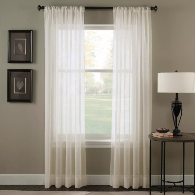 "Trinity 51"" x 108"" Crinkle Voile Sheer Curtain Panel"