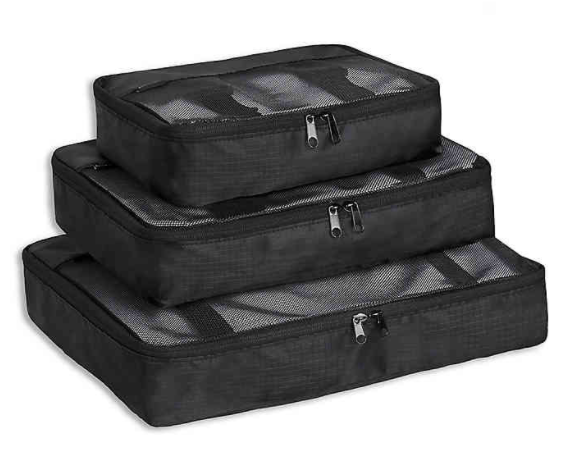 Brookstone® Pack-It™ Packing Cubes with Compression Fit in Black (Set of 3)- Limited to 1 per customer