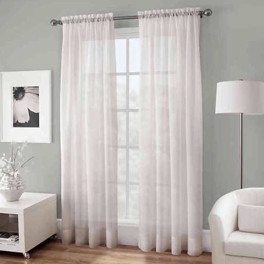 Crushed Voile Sheer 95-Inch Rod Pocket Window Curtain Panel in White- Limited to 1 per customer