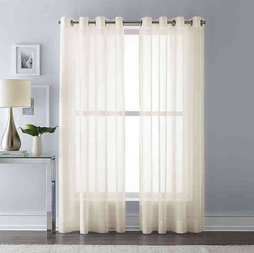 Wamsutta® 84-Inch Grommet Top Sheer Window Curtain Panel in Ivory- Limited to 1 per customer