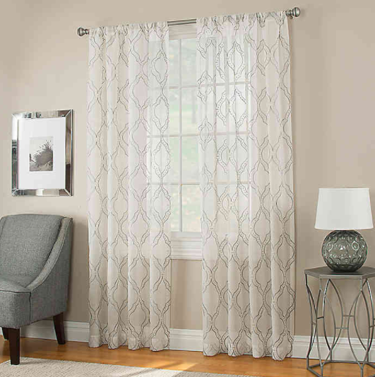 Modern Ogee 84-Inch Sheer Window Panel in Grey- Limited to 1 per customer