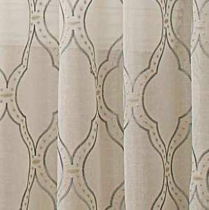 Modern Ogee 84-Inch Sheer Window Panel in Grey