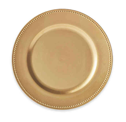 Beaded Charger Plates in Gold (Set of 6)- Limited to 1 per customer