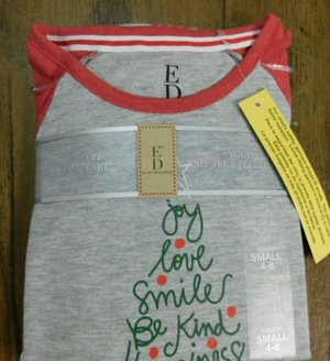 Ellen Degeneres Youth 4-6 S Christmas Joy Love Smile Be Kind! Holiday Pj Set- Limited to 1 per customer