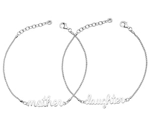 Mother Daughter Signature - .925 Sterling Silver w/ Swarovski Crystal