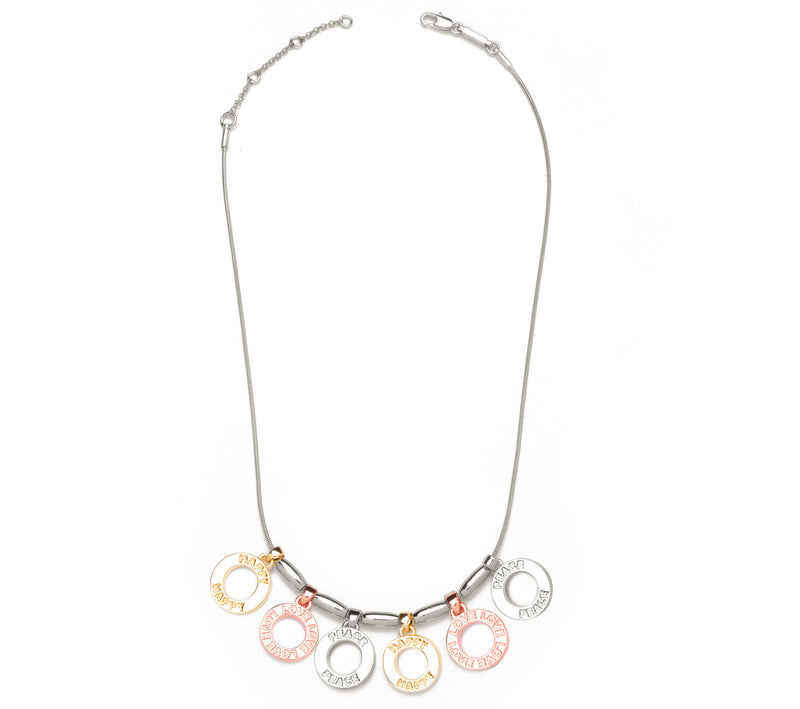 Happy, Love, Peace Tricolor Necklace