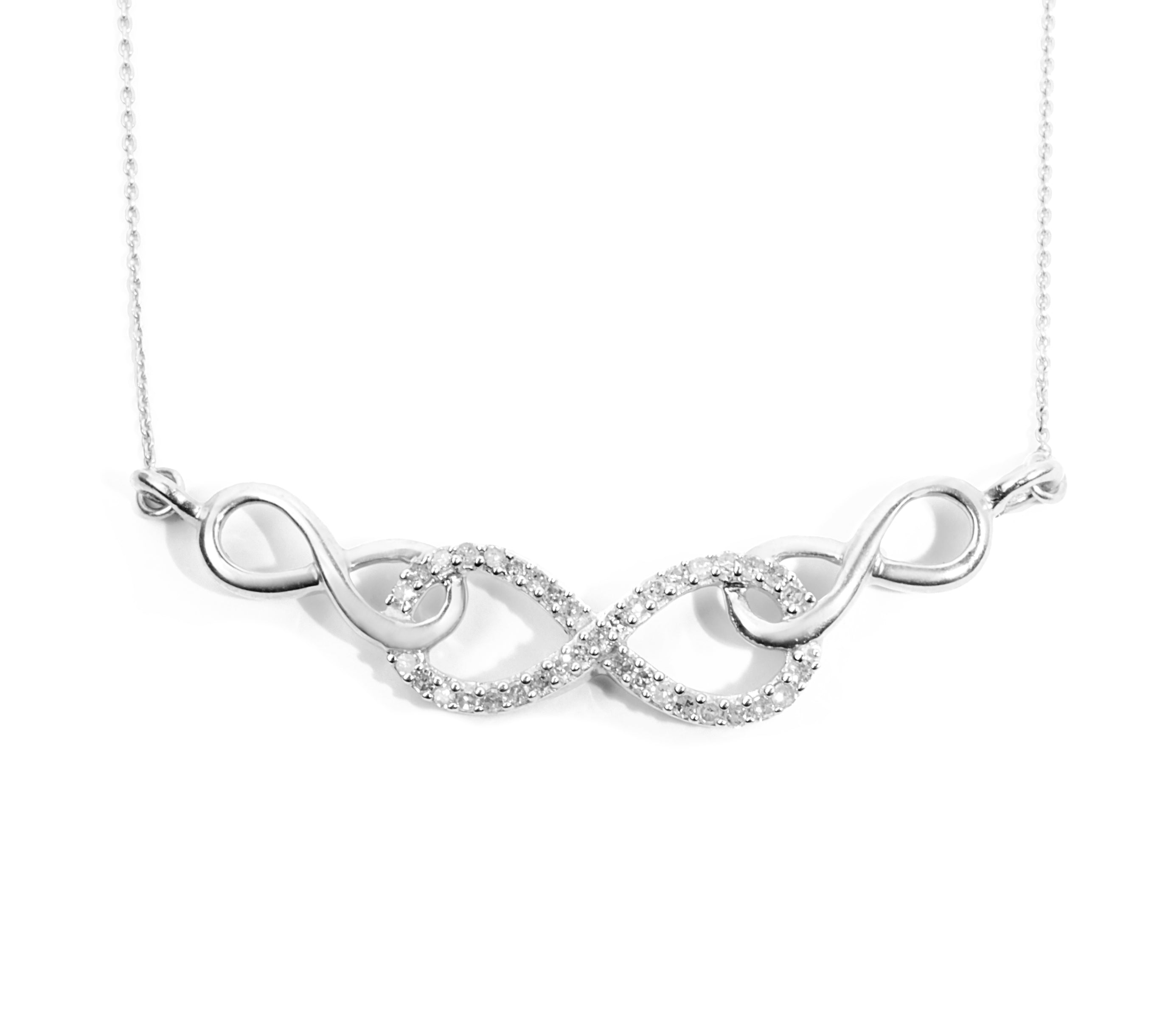 Sterling Silver Womens Round Diamond Infinity Pendant Necklace 1 5