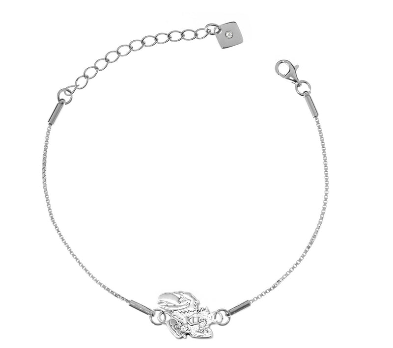 University of Kansas Jayhawks .925 Sterling Silver Bracelet