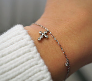 Mini Diamond Cross Charm Bracelet (Includes 9 diamonds)