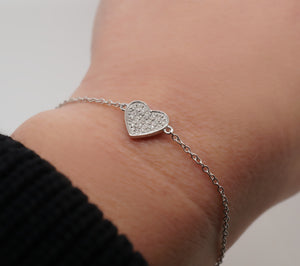 Diamond Heart Charm Bracelet (Includes 21 diamonds)