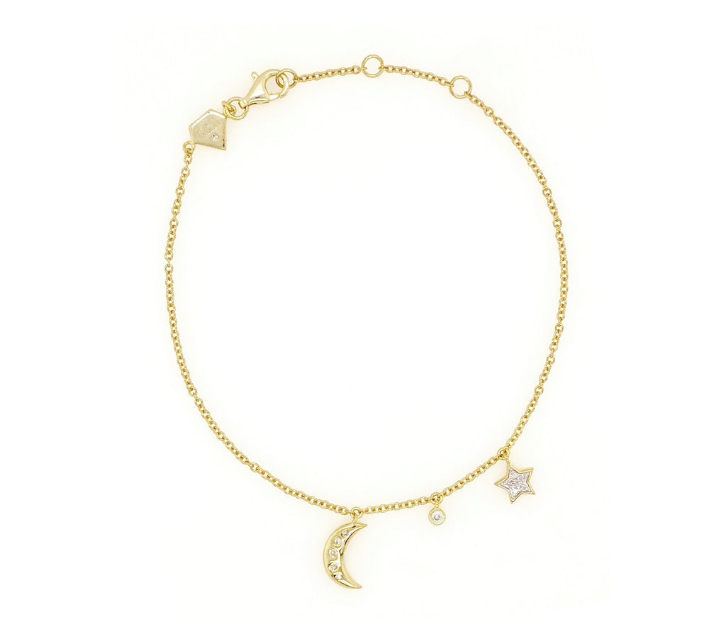 Moon and Star Diamond Bracelet (Includes 12 diamonds)